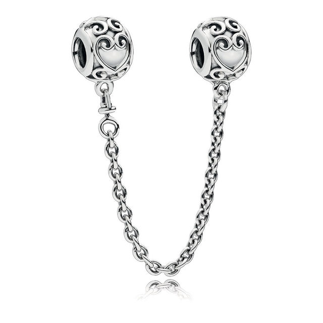 Classic 925 Sterling Silver Enchanted Heart Safety Chain Charm Fit Pandora Bracelet Bangle Daisy Safety Chain charm DIY Jewelry