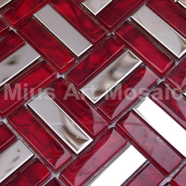 Sample Red Brown Mini Brick Crystal Glass Mosaic Tile: Strip Metal Tiles Mixed Red Crystal Glass Mosaic Tile Red