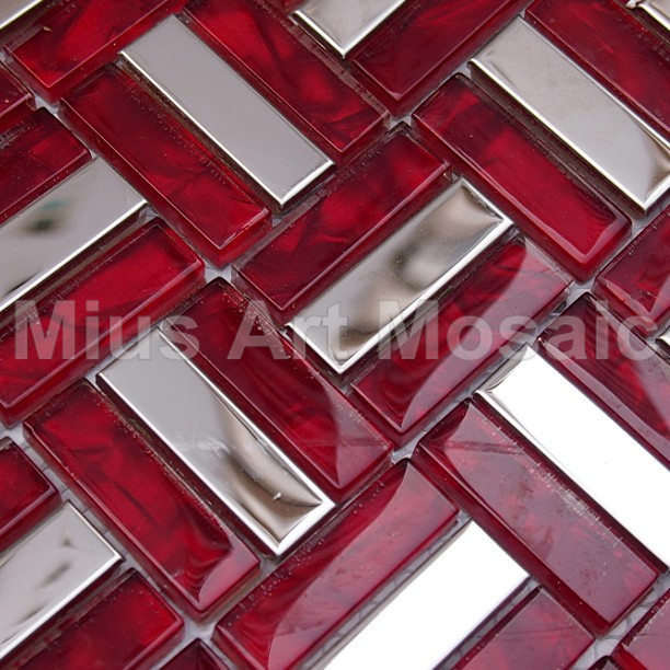 US $38.5 |Strip metal tiles mixed red crystal glass mosaic tile red kitchen  backsplash MV054-in Wallpapers from Home Improvement on AliExpress