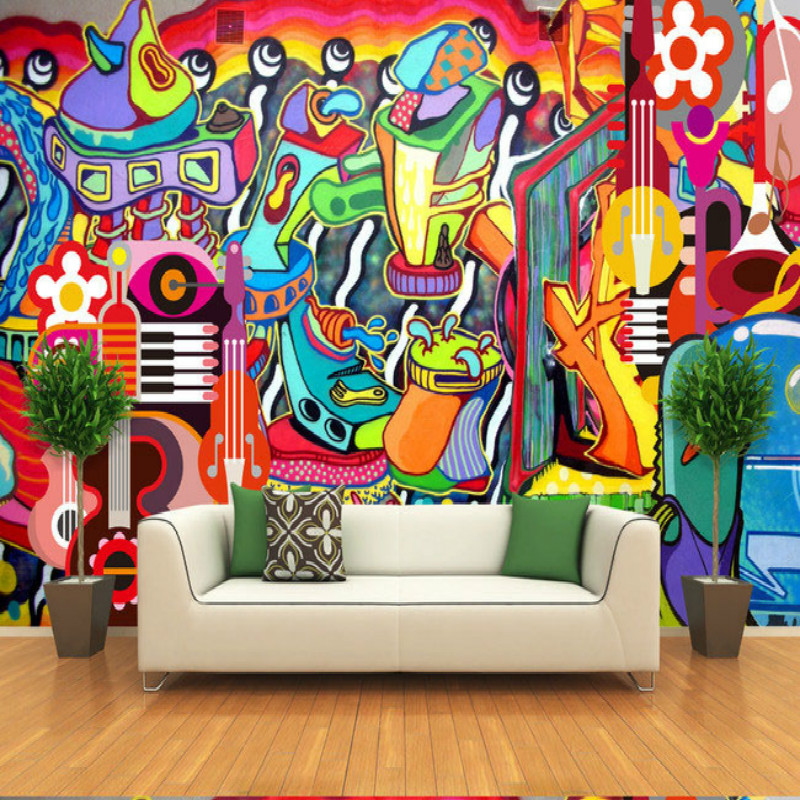 buy graffiti painted the large mural 3d wallpaper tv backdrop living room. Black Bedroom Furniture Sets. Home Design Ideas