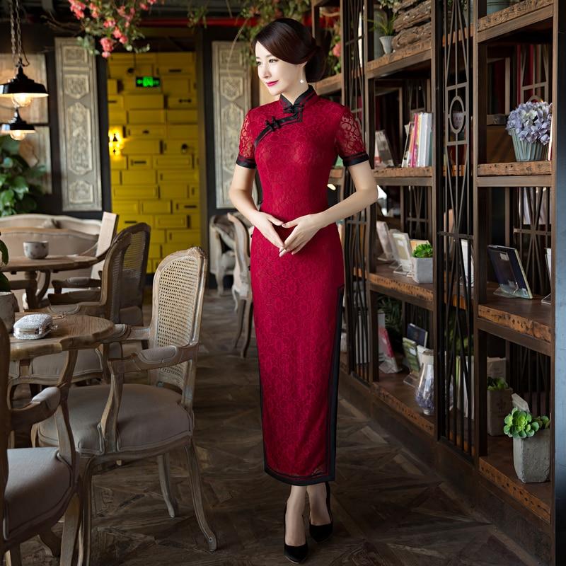 Robe burgundy Femmes Long Élégante Chaude Chine Xxl L Dentelle Bourgogne Xl Vente Xxxl Taille Cheongsam Traditionnelle Noir Qipao 6x5841 M Style De S qBF5wEP