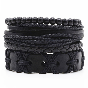 New Fashion Weave Vintage Cuff Beads Leather Anchor Infinity Charm Black Male Men Bracelets Women Female Jewelry Accessories