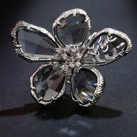 Fashion Big Blue Gray Cubic Zirconia Super Large Crystals Flower Ring White Gold Color Cool Cocktail