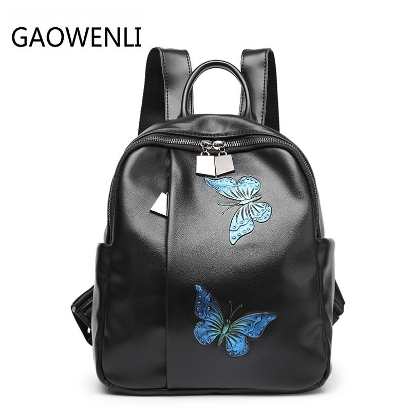GAOWENLI Genuine Leather Butterfly Print Fashion Women s Backpacks Travel Bags Female Black Dailypack School Ladies