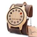 BOBO PÁSSARO A26 Mens Relógios Top Marca de Luxo Antigo Rodada Relógios de Quartzo Com Branco de Couro Real de bambu De Madeira 12 Furos cintas