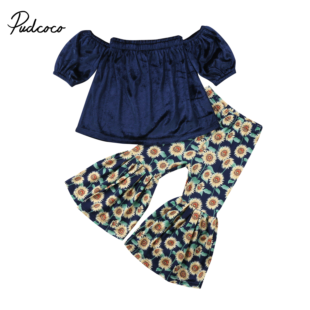 Cute Toddler Baby Girls Off Shoulder Blouse Denim Tops Floral Wide Leg Trousers Long Pants 2Pcs Children Summer Spring Clothes