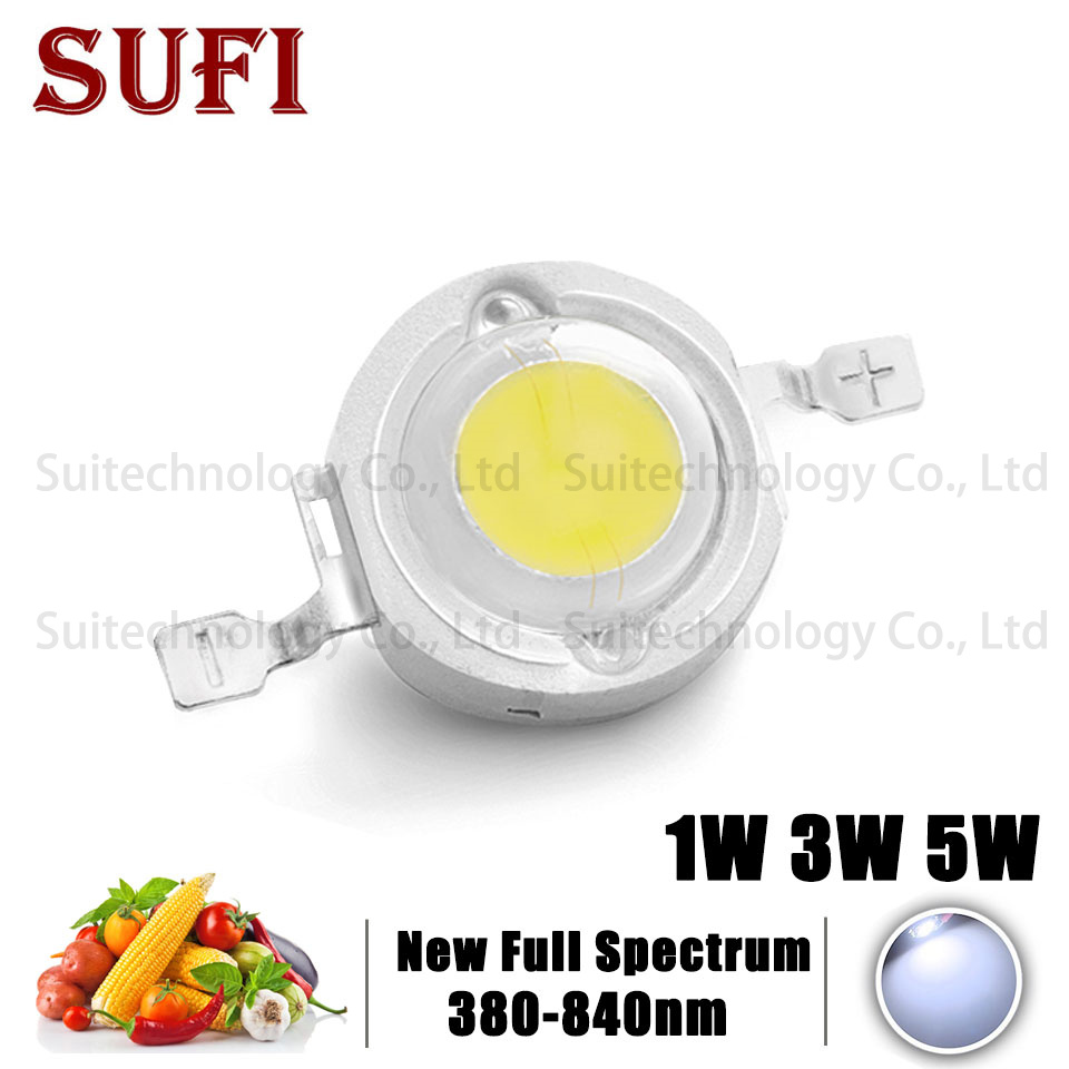 High Power 1W 3W 5W LED Grow Light Lamp Full Spectrum 380-840Nm COB SMD Diode For Indoor Plant Vegetables Fruit Flowers Growing