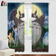 Miracille Cartoon Totoro Curtains For Kids Living Room Bedroom Healing Anime Panel Window Treatment Drapes Shading 70%