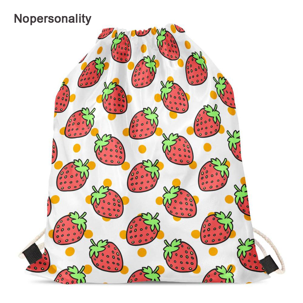 Nopersonality Portable Strawberry Drawstring Bags Girls Shoes Bag Beige Women Backpack Small Travel Pouch Storage Pack Mochila