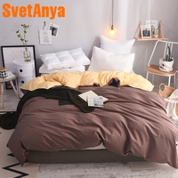 Svetanya Cotton Duvet Cover Solid Color Comforter Quilt Blanket Case with Zipper (no Quilt) Single Full Queen King double size