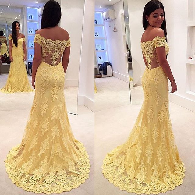 Sexy Boat Neck Yellow Mermaid Long Lace   Prom     Dress   Short Sleeves vestido de festa Elegant Evening Formal Party   Dresses   2019