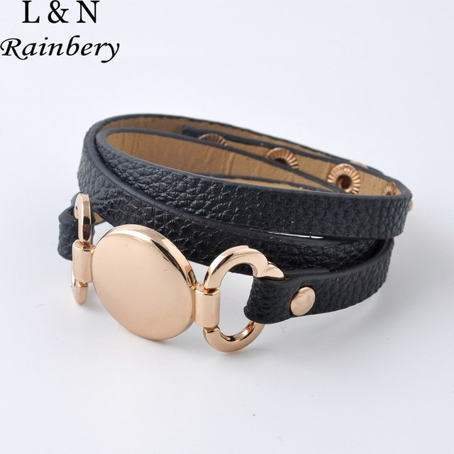 Rainbery 2018 New Style Monogram Leather Bracelet Hottest Trendy With Blank Disc Multiple Wrap