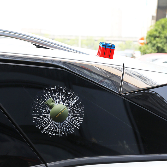 PUBG Game Props Drop Box Grenades Hit The Window Car Sticker