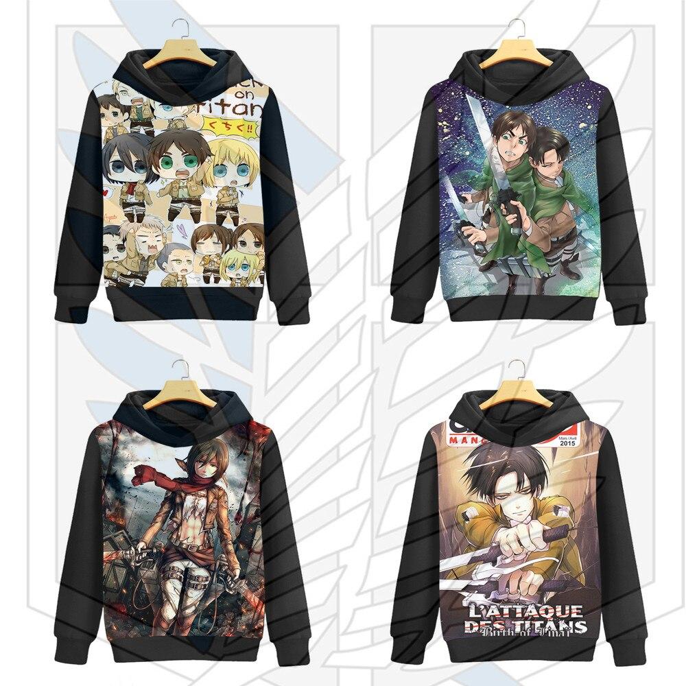 Attack on Titan Mikasa Ackerman Cosplay Eren Jaeger Hoodies Cosplay Men Women fashion Cartoon printing brushed Hooded Jackets
