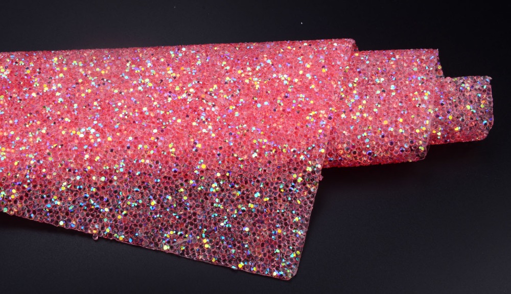 High Quality 24 40cm Roll Rhinestone Trim Pink AB Wedding Decoration Hotfix  Glue Mesh Stass Banding Iron On Clothing Accessories 81db63835aff