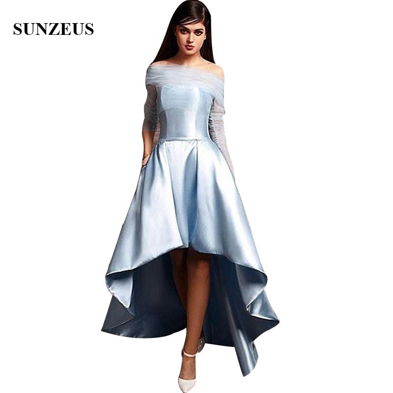 High Low Light Blue Bridesmaid Dresses With Sheer Tulle 3