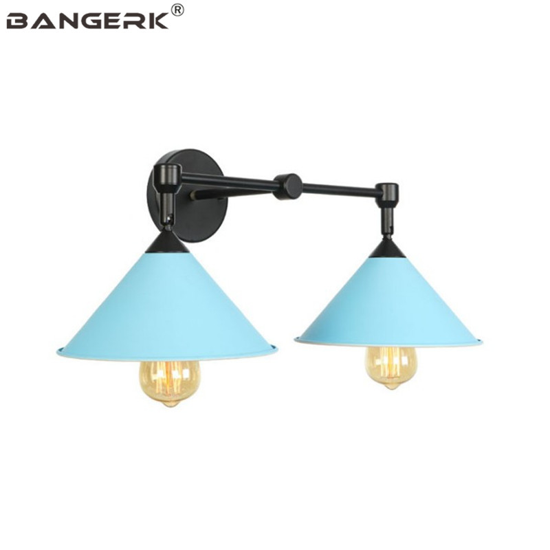 Nordic Design Double LED Wall Lamp Iron Macarons Modern Sconce Wall Lights Bedside Loft Home Decor Indoor Lighting Fixtures nordic design modern wall light iron color creative bird led wall lamp loft decor kids room wall sconce home lighting