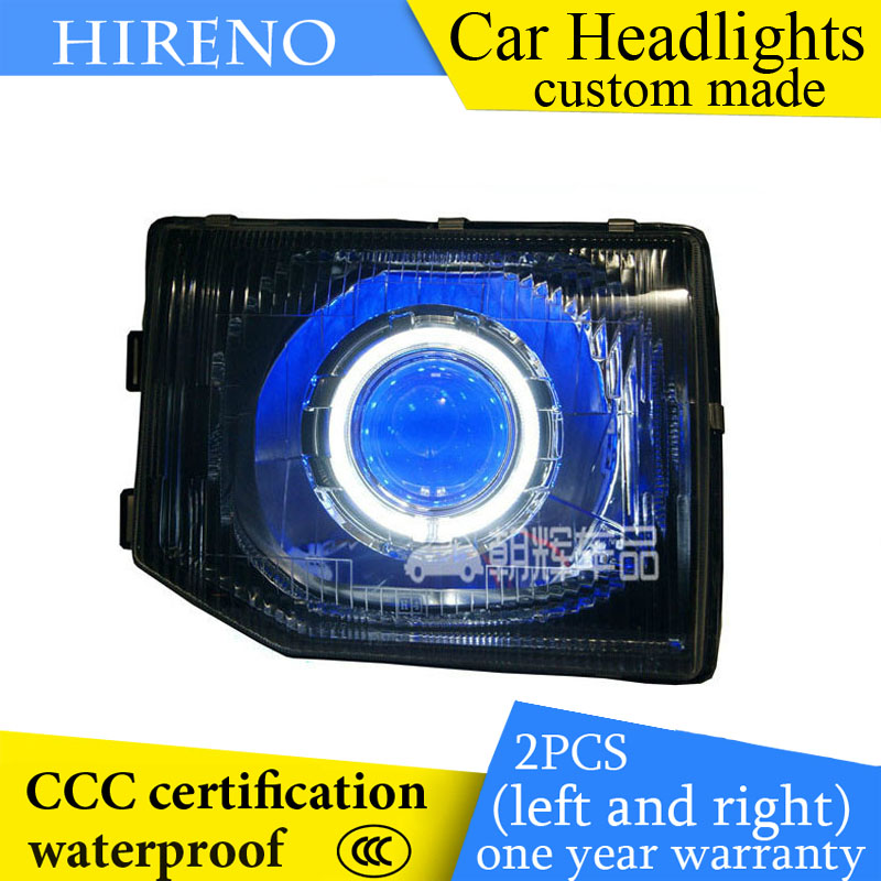 Hireno custom Modified Headlamp for Mitsubishi Pajero V31 V32 V33 Headlight Assembly Car styling Angel Lens Beam HID Xenon 2 pcs hireno headlamp for cadillac xt5 2016 2018 headlight headlight assembly led drl angel lens double beam hid xenon 2pcs