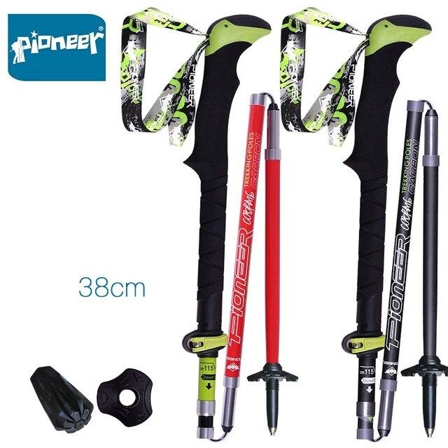 2 adet/paket karbon Fiber yürüyüş çubukları Ultralight katlanır katlanabilir Trail koşu yürüyüş yürüyüş sopaları hafif köpekler