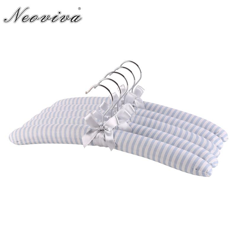 Neoviva Soft Sponge Coat Hanger for Dress, Pack of 5, Slim Striped Baby Blue clothes hanger