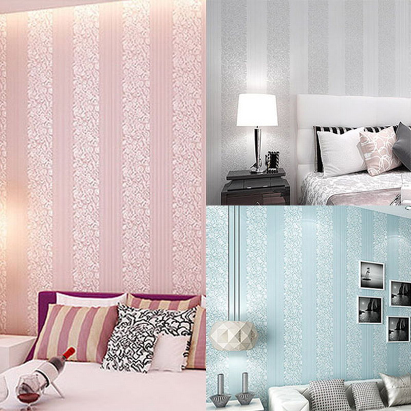 3D Non-woven Vertical Stripes Wallpaper Bedroom Sofa Background Stereoscopic Thick  wall paper papel de parede VBL94T50 beibehang stereoscopic 3d wallpaper modern minimalist art of imitation marble vertical stripes woven wallpaper tv background