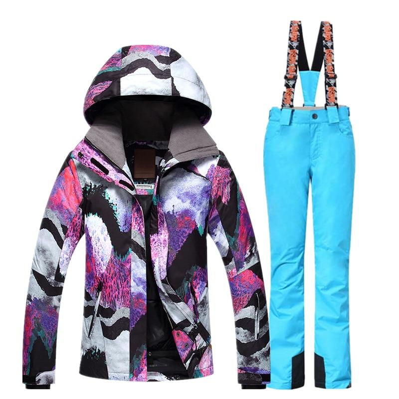 GSOU combinaison de Ski de neige femme veste de Ski pantalon hiver extérieur pas cher combinaison de Ski imperméable veste de Snowboard pantalon vêtements coupe-vent - 5