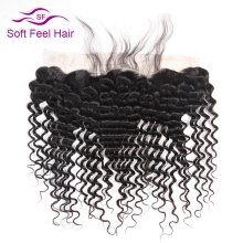 Soft Feel Hair Brazilian Deep Wave Frontal 13x4 Ear To Ear Lace Frontal Closure With Baby Hair Remy Human Hair Frontal 8-22 Inch