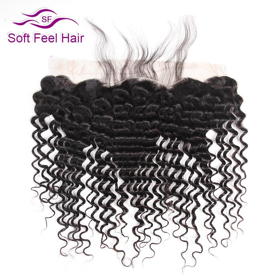 Soft Feel Hair Peruvian Deep Wave Frontală Ureche 13x4 la ureche - Păr uman (pentru negru)