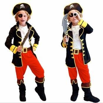 Джек Воробей Дети Мальчики пират костюмы на Хеллоуин Косплей костюмы для детей