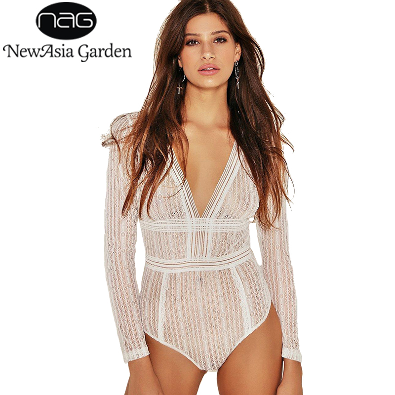 marchio famoso ultima moda autentica di fabbrica US $10.99 45% OFF|NewAsia Garden Sexy Plunge Deep V Neck Open Back Lace  Bodysuit Backless Long Sleeve Tps Summer Bodies Playsuits Rompers  Overalls-in ...