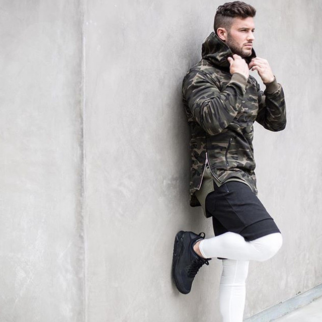 Mens Camouflage Hoodies fitness Bodybuilding jacket Sweatshirts