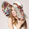 Hot 2017 Mujeres de La Manera Sombreros de Verano Anti-Ultravioleta Plegable de Protección Facial visera Sombrero para el Sol Sombrero de la Playa Grande de Ala Ajustable