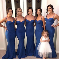 Sweetheart Royal Blue Bridesmaid Dress Spaghetti Straps Long Satin Wedding Guest Party Dress Mermaid Style Maid Of Honor Dresses