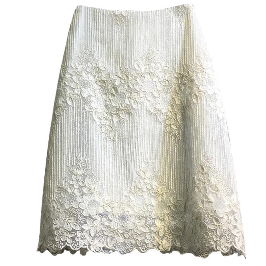 2020 Summer New Retro Lace Skirt Women High Waist A-line Knee Length Package Hip Skirt