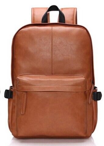 2016 new men s black leather shoulder bag leisure backpack students bag backpack influx of men