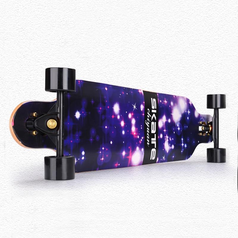 CHI YUAN 41 Pouce Professionnel Longboard D'érable Conseil Cruiser Planche À Roulettes Skate planche Complète Galaxy