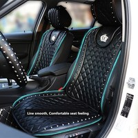 Leather Car Seat Cover Crown Rivets Auto Interior Seat Cushion Accessories Black Universal Size Front Seats