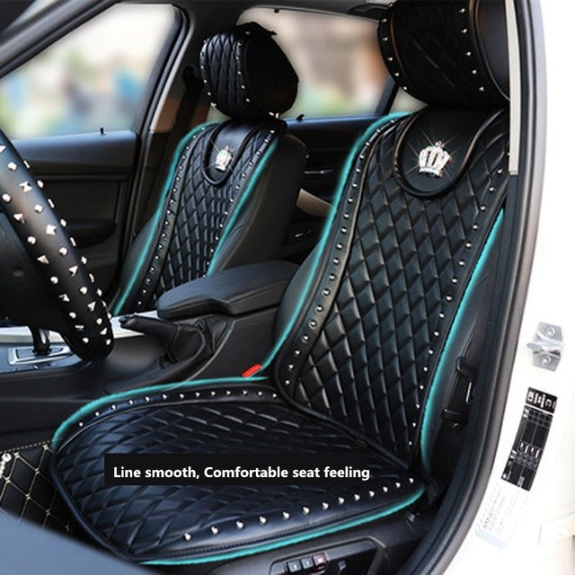 Leather Car Seat Cover Crown Rivets Auto Interior Cushion Accessories Black Universal Size Front Seats
