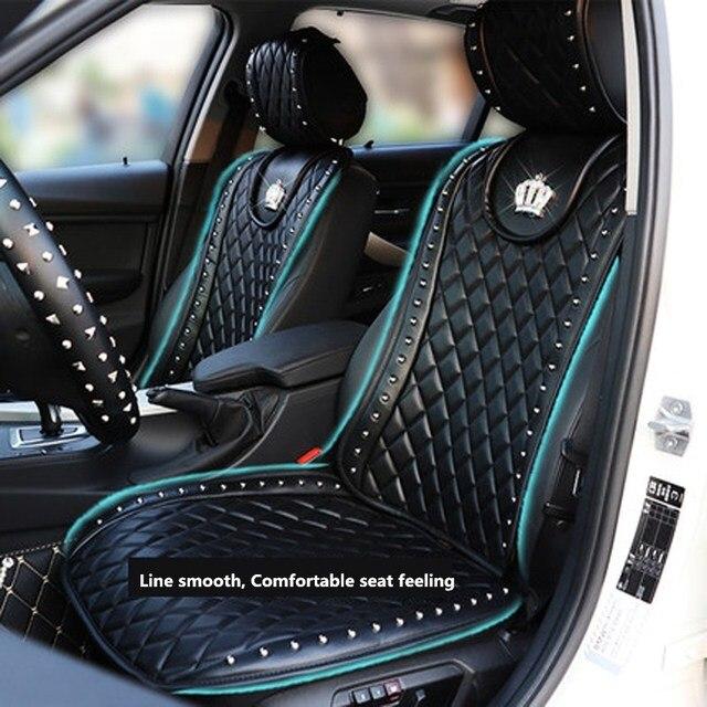 lederen autostoel cover crown klinknagels auto interieur zitkussen accessoires zwart universele maat voorstoelen covers auto styling