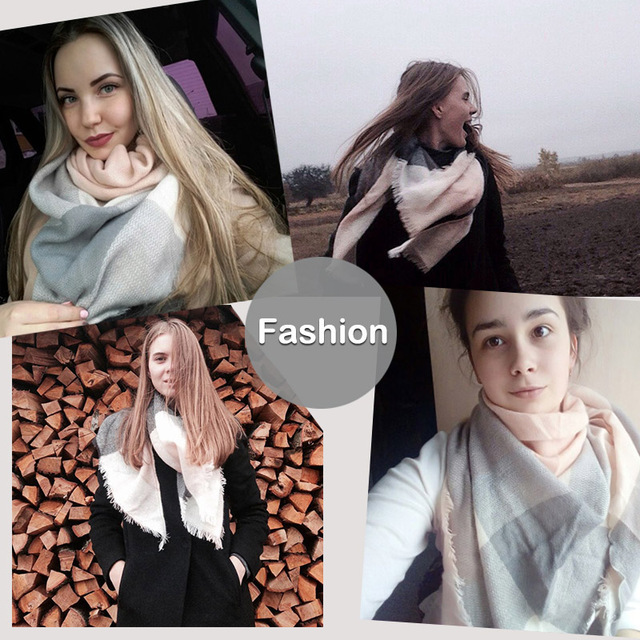 PINMI Good Quality Winter Scarf Women 2017 Soft Cashmere Warm Pashmina Scarf Large Triangular Wool Shawls Plaid Blanket Wraps