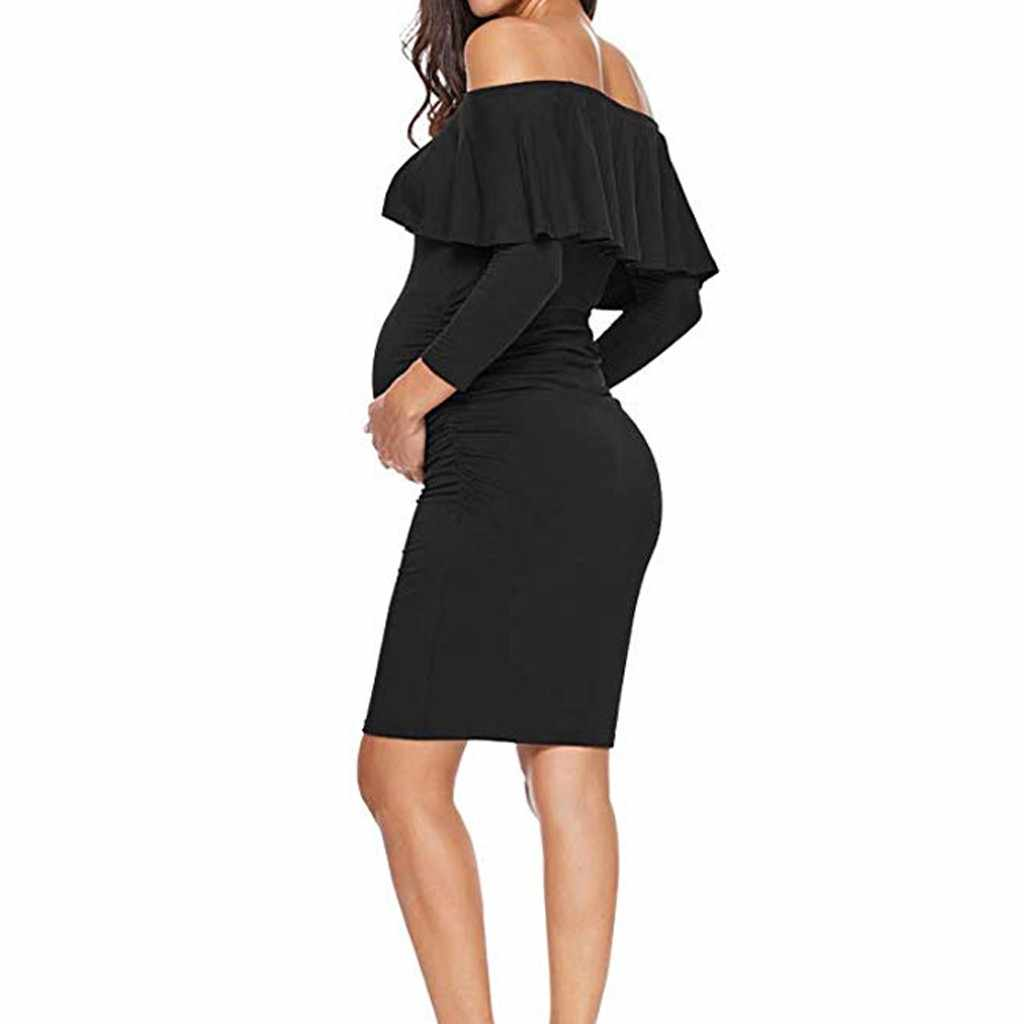 Women's Ruffle Off Shoulder Maternity Dress Women Dress Ruffles Pregnancy Clothes Ruched Sides Knee Length Bodycon Dresses New