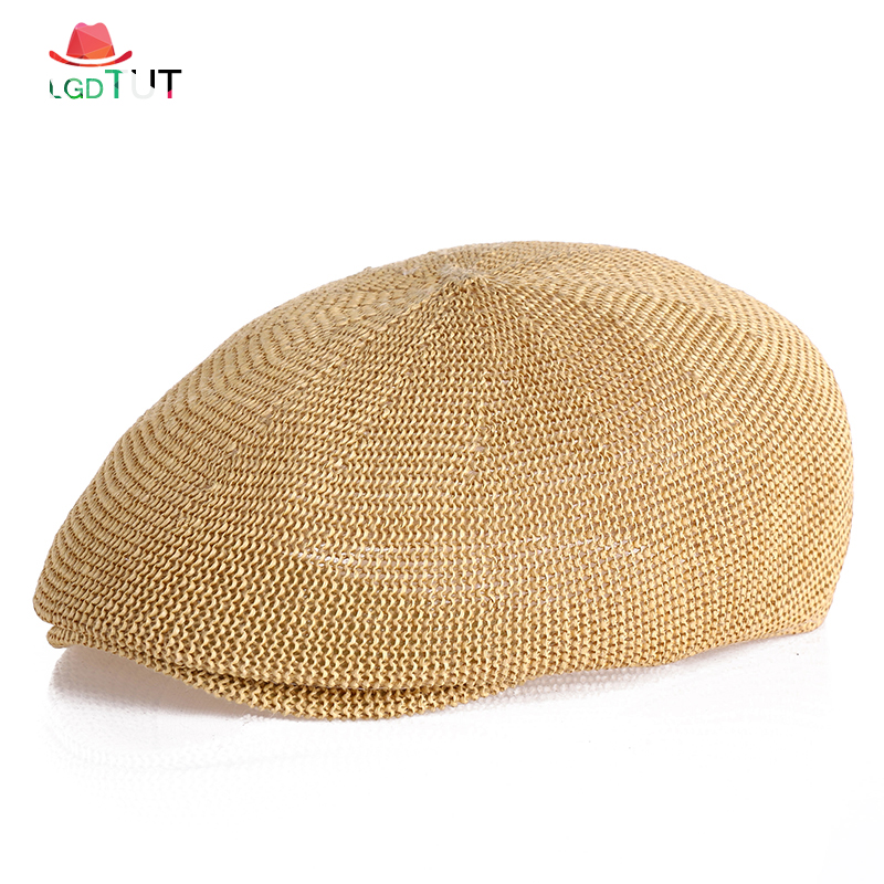 2019 Summer Hat Mens Berets Peaky Blinder Beret Homme Man Military Beret Mesh Dad hat Breathable Grass Yarn Sun Hats Flat Cap(China)