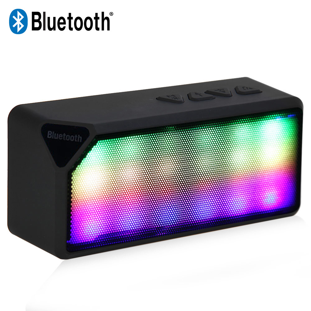 Multi Color X3S Mini Wireless Bluetooth Speaker With LED Light Built in Microphone Support USB AUX