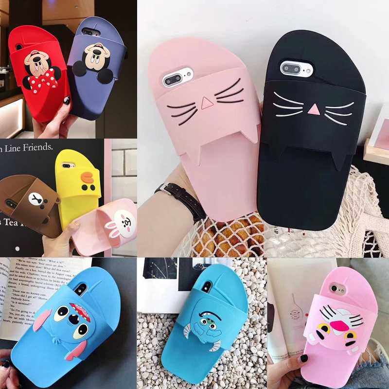 7dcfef0a77 3D Slippers Case Cat Bear Stitch Rabbit Bunny Minnie Mickey Soft Silicone  Cover for iPhone 7