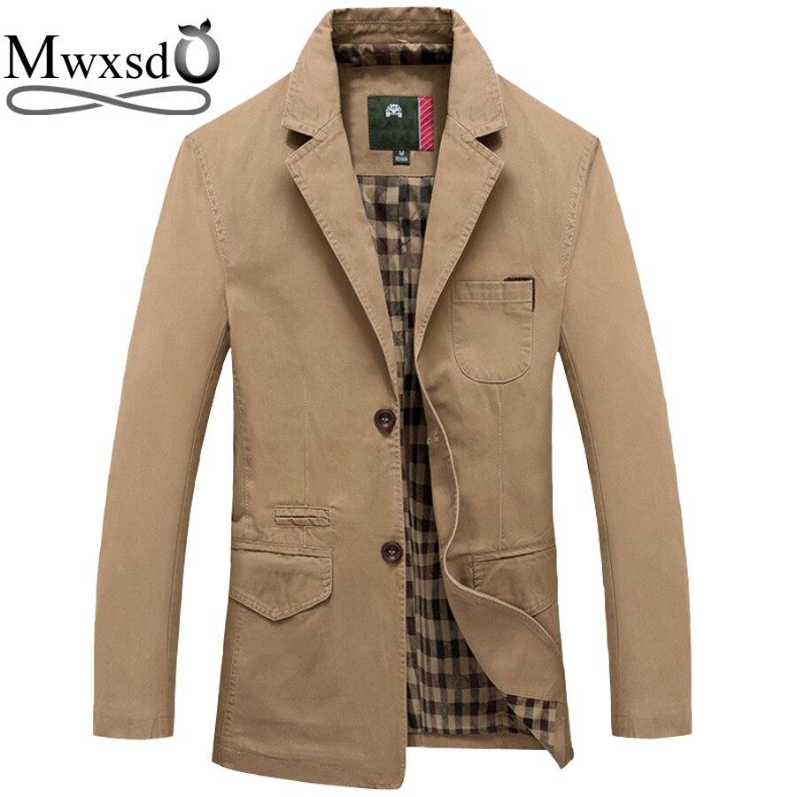 292e1db5432 Cheap Mwxsd marca hombres casual Blazer de algodón para Otoño Invierno hombres  traje de algodón Chaqueta