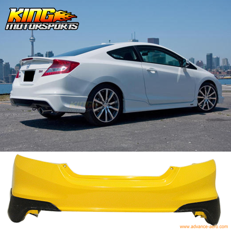 2013 Honda Civic Coupe >> Us 121 6 Fits 2012 2013 Honda Civic Coupe Si Only Hf P Style Rear Aprons Lip Unpainted Black Pu In License Plate From Automobiles Motorcycles On