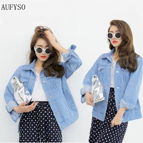 623e519057e18 AUFYSO Jeans Jacket Women 2017 Korean Casual Brief Turn Down Collar Long  Sleeve Vintage Blue Denim Coat casacos feminino C12