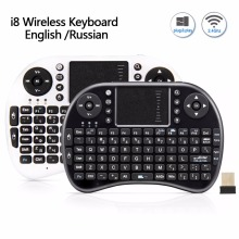 i8 Mini Rechargeable Wireless font b Keyboard b font 2 4G English Russian Version Air Mouse