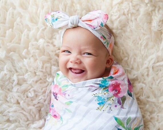 2017 Newborn Floral Striped Print White Baby Blankets Newborn Boys Girls Sleeping Swaddling Infant Swaddle Wrap Swaddling Blanke