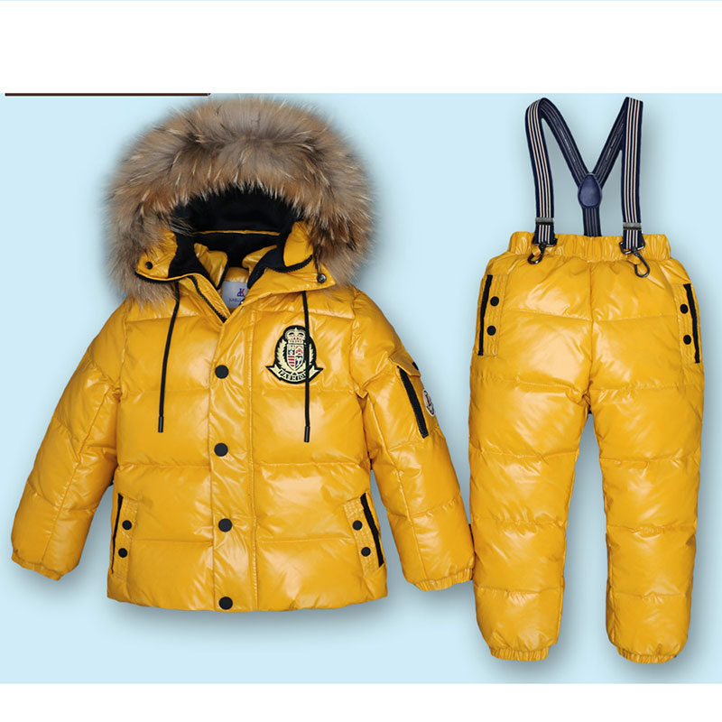 Mioigee Super Warm Children Winter Suits Boys Girl Duck Down Jacket +Pants 2 pcs Clothing Set Thermal Kids Snow Wear Top Quality 2016 winter boys ski suit set children s snowsuit for baby girl snow overalls ntural fur down jackets trousers clothing sets